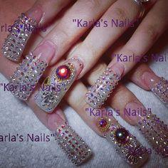 Beautiful Long Nail Designs, Beautiful Nail Designs, Beautiful Nail Art, Nail Art Designs, Crazy Nail Art, Crazy Nails, Oval Nails, Diamond Nails, Duck Nails