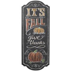 ''It's Fall Give Thanks'' Chalkboard Wall Sign (£13) ❤ liked on Polyvore featuring home, home decor, wall art, wall chalkboard, fall home decor, circle wall art, mounted wall art and home wall decor