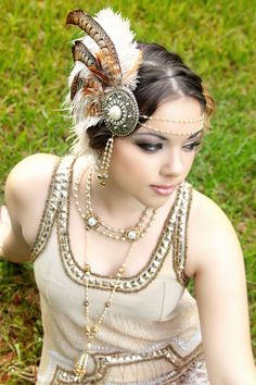 The Huntress Gatsby Style fascinator by TheHauteFeather on Etsy