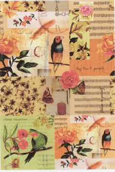 Rice paper for Decoupage l Birds & music sheet rice paper l