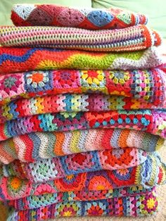 one of the best crochet blogs for colour Gorgeous Attic 24 crochet blankets!