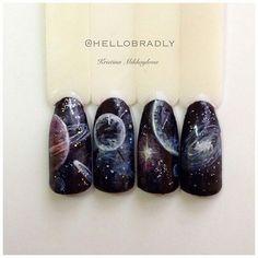 ☺ Sky Nails, Feet Nails, Gradient Nails, Uv Gel Nails, Manicure Pictures, Nail Art Wheel, Fruit Nail Art, Galaxy Nail Art, Space Nails
