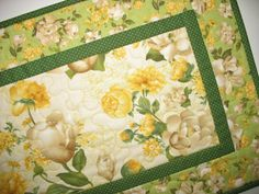 Floral Table Runner Quilted fabric from by PicketFenceFabric, $34.00