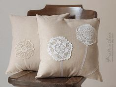 Pillows with hand dyed crochet doilies