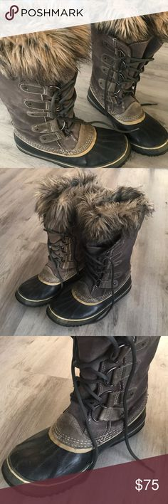 Sorel Joan of Arctic Winter Brown Boots Size 10 Warm and waterproof! Selling my brown/black Joan of Arctic Sorel boots in good condition! Lots of tread left. A little wear on the suede but no stains. Smoke free home. Sorel Shoes Winter & Rain Boots