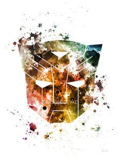 Ilustración de lámina emblema Transformers, Autobots, Optimus Prime, decoración casera, arte de la pared