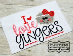 Embroidery design 5x7 6x10 I love Gingers by SoCuteAppliques
