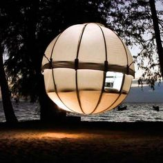 Floating Treehouse Tent. A glowing orb hanging in mid air.