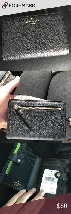 Kate Spade Black Brand New Wallet Debuted June 2017, Brand new with tags, purchased for $119. Moving to a smaller place so being forced to downgrade kate spade Bags Wallets