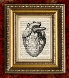 HEART Vintage Dictionary Print Antique Book Page Art Print 8x10