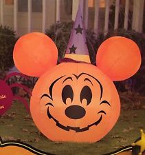 LIGHTED DISNEY MICKEY MOUSE PUMPKIN WIZARD HALLOWEEN AIRBLOWN INFLATABLE 3.3 ft