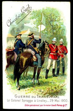 """Chocolate Louit """"The Transvaal War"""" Boer War) Surrender of Colonel Spragge at Lindley, May 1900 Colonel, Cigarette Box, British Colonial, Toy Soldiers, 21st, Africa, Military, Chocolate, History"""
