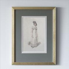 Постеры с изображением английских платьев 19-го века. Оформление в золотую раму и паспарту.