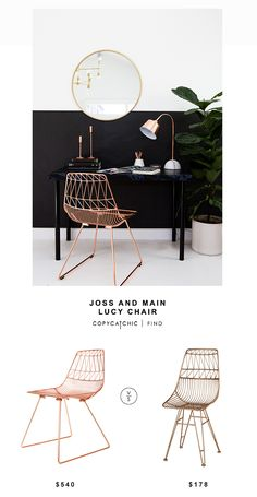 One Kings Lane Bend Goods Lucy Copper Wire Chair for $549 vs Overstock Sterling Home Jette Chair in Rose Gold for $178 | @copycatchic look for less http://www.copycatchic.com/2016/09/bend-goods-lucy-copper-wire-chair.html?utm_campaign=coschedule&utm_source=pinterest&utm_medium=Copy%20Cat%20Chic&utm_content=Joss%20And%20Main%20Lucy%20Chair
