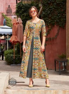 Shop Kajal Style Designer Long Kurtis Dairy Milk Vol 5 and 6 Online with the best price Fashion House for Dulhan. Flaunt latest styled cuts and look with these Indian Dresses, Give yourself the stylish look for a Wedding & Party wear. Kurta Designs Women, Kurti Neck Designs, Dress Designs, Modelos Fashion, Batik Fashion, Most Beautiful Dresses, Batik Dress, Pakistani Dresses, Indian Anarkali