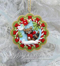 Raccoon Clay Christmas Ornament