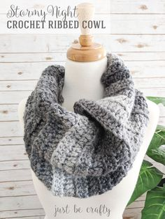 The Stormy Night Crochet Ribbed Cowl is the perfect accessory to make and add to your wardrobe. This cowl can be finished in as little as an hour!