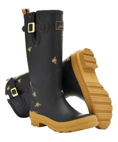 Joules Black Bees Wellyprint Rain Boot - Women | zulily