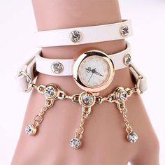 New Arrivals Women Leather Strap Watches Set Auger Rivet Bracelet Women Dress Watches Wristwatches Luxury Hand Wind Drill