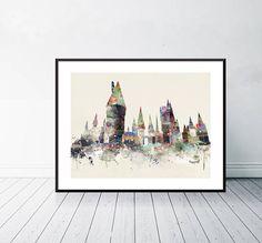 hogwarts castle watercolor school of magic.pop adventures and
