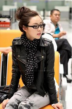 Punk Lapel Rivet Motorcycle PU Leather Jacket For Women Look Fashion, Korean Fashion, Winter Fashion, Fashion Women, Fashion Coat, Fashion Black, Looks Style, My Style, Moderne Outfits
