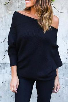 Sexy off the shoulder female batwing sweater