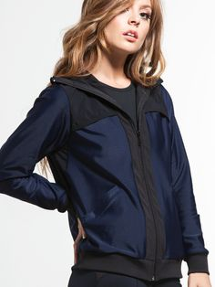 Covert Jacket in Navy/black by Koral from Sport Fashion, Fitness Fashion, Fashion Outfits, Fashion Trends, High Fashion, Gym Style, Street Style Looks, Active Wear For Women, Outerwear Jackets