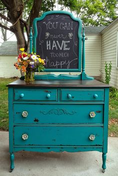 chippy teal dresser, chalkboard paint, painted furniture, repurposing upcycling, and here she is finished Just love this one Old Furniture, Distressed Furniture, Refurbished Furniture, Paint Furniture, Repurposed Furniture, Furniture Projects, Furniture Making, Furniture Makeover, Vintage Furniture