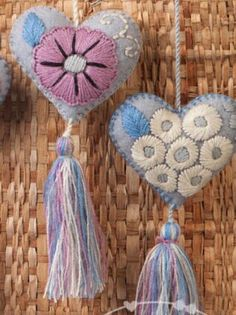 Mexican Felt Hearts / Hand Embroidered hearts with tassels / soft colors / wedding favors / wholesale/ wedding decor / baby shower favors Embroidery Bags, Embroidery Patterns, Pom Pom Bag Charm, Felt Brooch, Heart Ornament, Fabric Jewelry, Felt Hearts, Felt Ornaments, Needle Felting