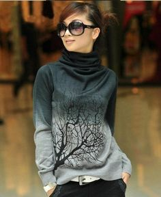 pretty womens blue gray sweaters turtlenecks ombre tree  Color:dark blue, light blue, green, red, gray, orange,  (please leave message which color do you need)  Plate type: Slim-type Sleeve: Long Sleeve Collar: Turtlenecks Details: printing / dyeing Functionality: warm fever Fabric: Cas...