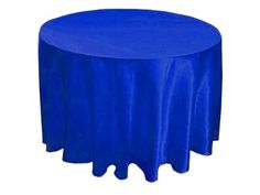 "1 pc Royal Blue 120"" ROUND Satin TABLECLOTH Wedding Party Kitchen Tabletop"