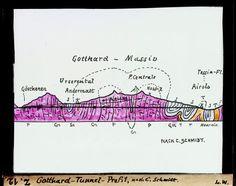 Gotthard-Tunnel-Profil, nach C. Schmidt. Dia_247-Z-00012 Schmidt, Switzerland, Travel, Profile, Literature, Trips, Viajes, Traveling, Outdoor Travel