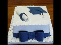 ~ Graduation Cake in Blue with Bow DessertDesignsByL . ~ Abschluss-Kuchen im Graduation Cake Designs, College Graduation Cakes, Graduation Cupcakes, Graduation Party Decor, High School Graduation, Grad Parties, Graduation Ideas, Congratulations Cake, Bowl Cake