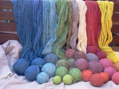 Stash of hand dyed wool.All sorts of plant dyes used to try to recreate colours used in Viking times and onwards. Included are woad, indigo, madder, weld, cochineal and more. Natural Dye Fabric, Natural Dyeing, Creative Textiles, Tablet Weaving, Yarn Thread, How To Dye Fabric, Fabric Painting, Wool Yarn, Bunt