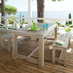 jardin aménagement idée banc de jardin table de jardin en bois déco bougies vertes