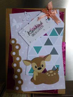 @ Kleinkind geboren hoera meisje dochter hertje zelfgemaakte kaart