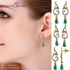 Solid Yellow Gold Certified Diamond Dangle Earrings Emerald Jewelry
