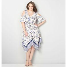 Plus size white handkerchief dress