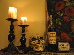 Halloween mantle display.