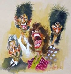 The Rolling Stones Funny Caricatures, Celebrity Caricatures, Ramones, Cartoon Art, Cartoon Characters, Pop Art, Rollin Stones, Ron Woods, Gifs