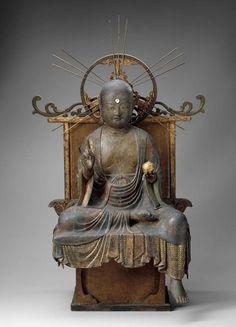 Jizô bosatsu zazo, the Bodhisattva of the Earth Matrix, Japanese, late Heian period, 12th c. Japanese cypress with polychrome and gold.