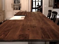 reclaimed Oak beams were used to make this beautiful island top. The patina of each piece was carefully preserved to enhance the natural antique appearance. The top was finished with Hardwax Oil in natural color. Kitchen Countertops, Kitchen Island, Reclaimed Kitchen, Patina Color, Red Oak, Kitchen Interior, Beams, Hardwood, Dining Table