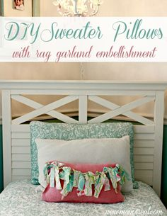 DIY Sweater Pillows with rag garland embellishment at www.mom4real.com