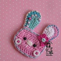 pink bunny - crochet brooch