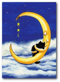 Cat's Cradle Moon Holding Black Cat   5x7 by DreamCatchingStudio.  In loving memory of Lucy 4/24/2012  @Jennifer Paige