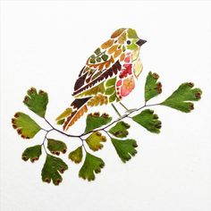 Artist Helen Ahpornsiri makes delicate colorful illustrations representing animals. She creates her artworks from pressed leaves of trees or plants. Art Et Nature, Nature Crafts, Pressed Leaves, Leaf Illustration, Leaf Crafts, Colossal Art, Pressed Flower Art, Collage Making, Arte Floral