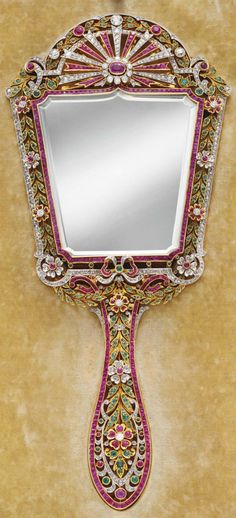 DIAMOND, RUBY AND EMERALD HAND MIRROR