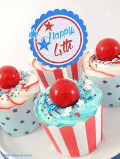 4th of July Coca-Cola® Chocolate Cupcake Recipe with Stars & Stripes Frosting