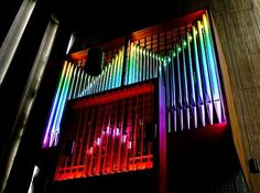 Klais Orgelbau, 2010 (renovation of 1973 Willi Peter organ);  Christi Verklarung, Cologne, Heimersdorf, Germany; III/46 (LED lighting offers 86 color groupings)