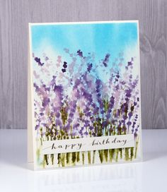 Wildflowers again today because I love the way this stamp creates such a pretty image when wet and blurred. I left the blue out of the mix this time and stuck with purples. Before stamping the flow…